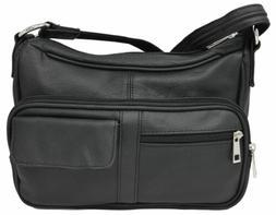 Black Crossbody or Shoulder Carry Leather Locking Concealmen