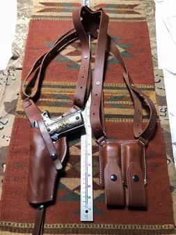 FITS Colt 45 Model 1911 Shoulder Holster & Mag Pouch Tanned