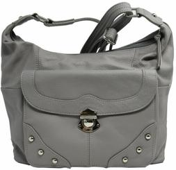 Gray Crossbody or Shoulder Carry Leather Locking Concealment