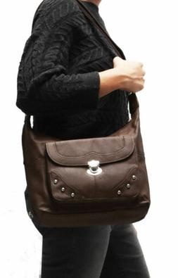 gray crossbody or shoulder carry leather locking