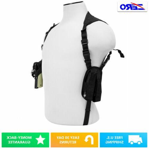 black ambidextrous pistol shoulder holster
