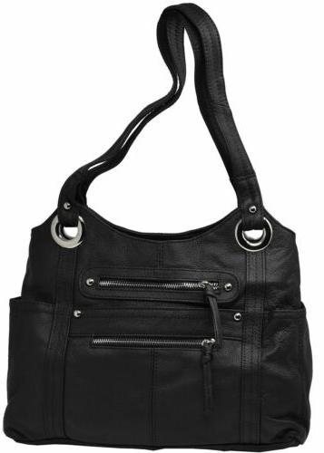 black crossbody or shoulder carry leather locking