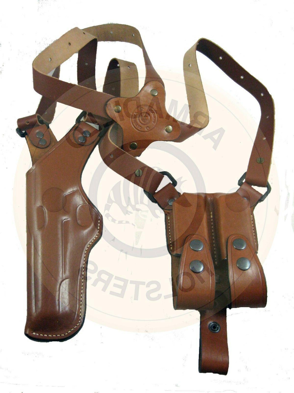Armadillo Tan Leather Vertical Shoulder Holster for 1911 P2V