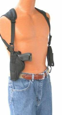 Bulldog vertical shoulder holster with double magazine pouch