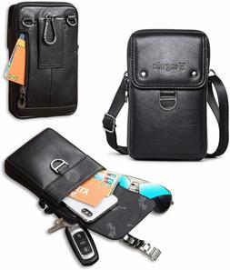 Leather Belt Bag Mens Crossbody Holster Cellphone Shoulder S