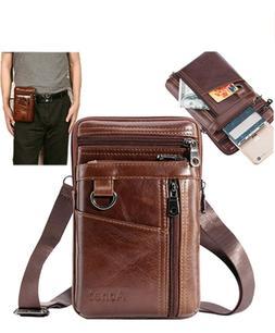 Leather Cell Phone Holster Purse Men Crossbody Shoulder Bag