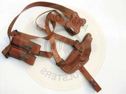 Armadillo Tan Leather Horizontal Miami Vice Shoulder Holster