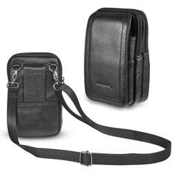 Mens Crossbody Shoulder Bag Mini Vertical Leather Holster Po