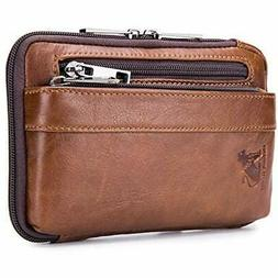 Mens Genuine Leather Waist Bag Cell Phone Pouch Belt Holster