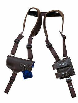 NEW Barsony Brown Leather Shoulder Holster Dbl Mag Pouch Spr