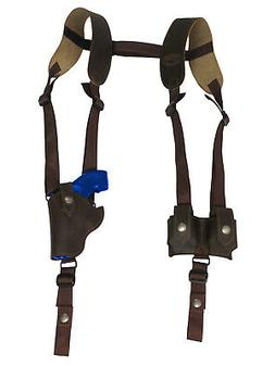 New Brown Leather Vertical Shoulder Holster w/ Speed-loader