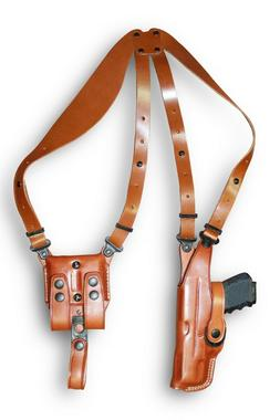 Premium Leather Vertical Shoulder Holster System Double Mag