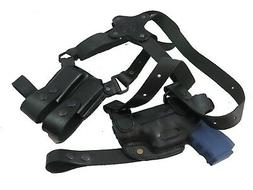 Right Hand Black Leather Horizontal Shoulder Holster for Glo