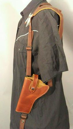Barsony Saddle Leather Vertical Gun Shoulder Holster for Rug