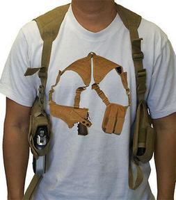 Tactical Cross Draw Shoulder Pistol Gun Holster - TAN