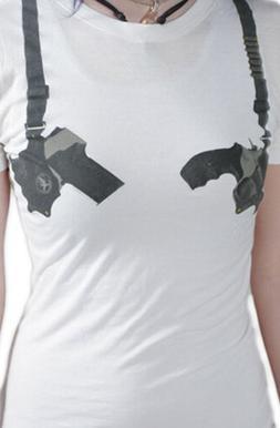 Cardboard Robot Women's Washed White Gun Shoulder Holster St